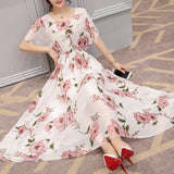 Ruffles Sleeve Round Collar Maxi Dress Floral Print Elastic Waist Dress