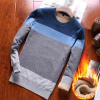 Men's Autumn And Winter Plush Striped Round Neck Sweater Color Matching Sweater