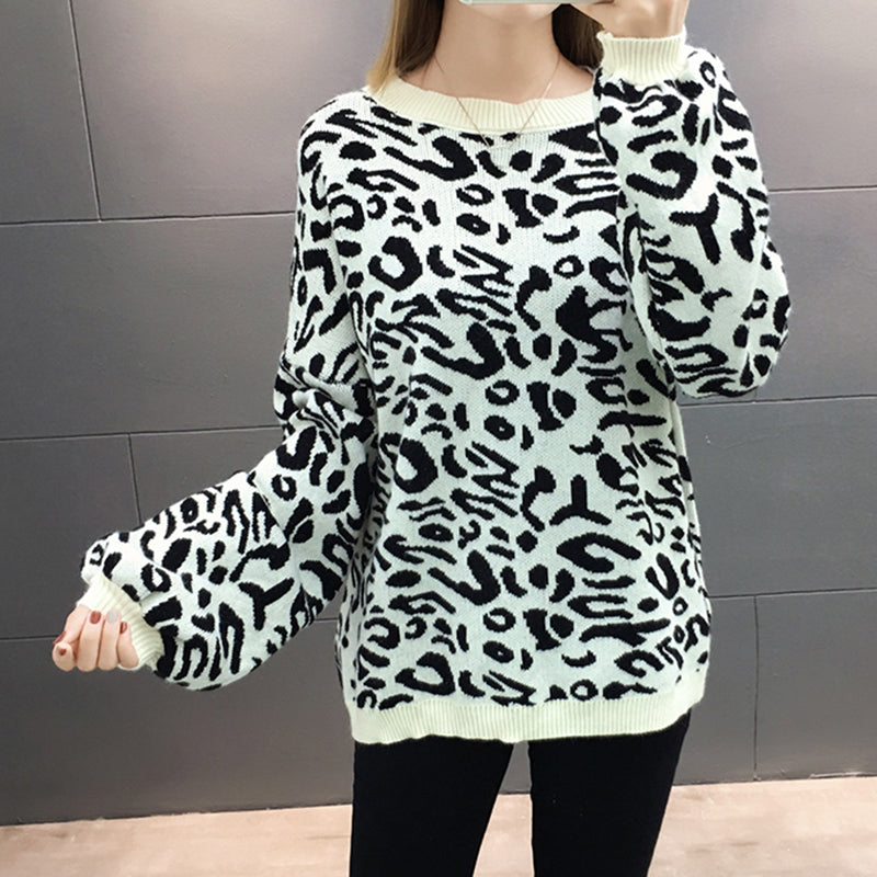 Pulover casual cu model imprimat leopard