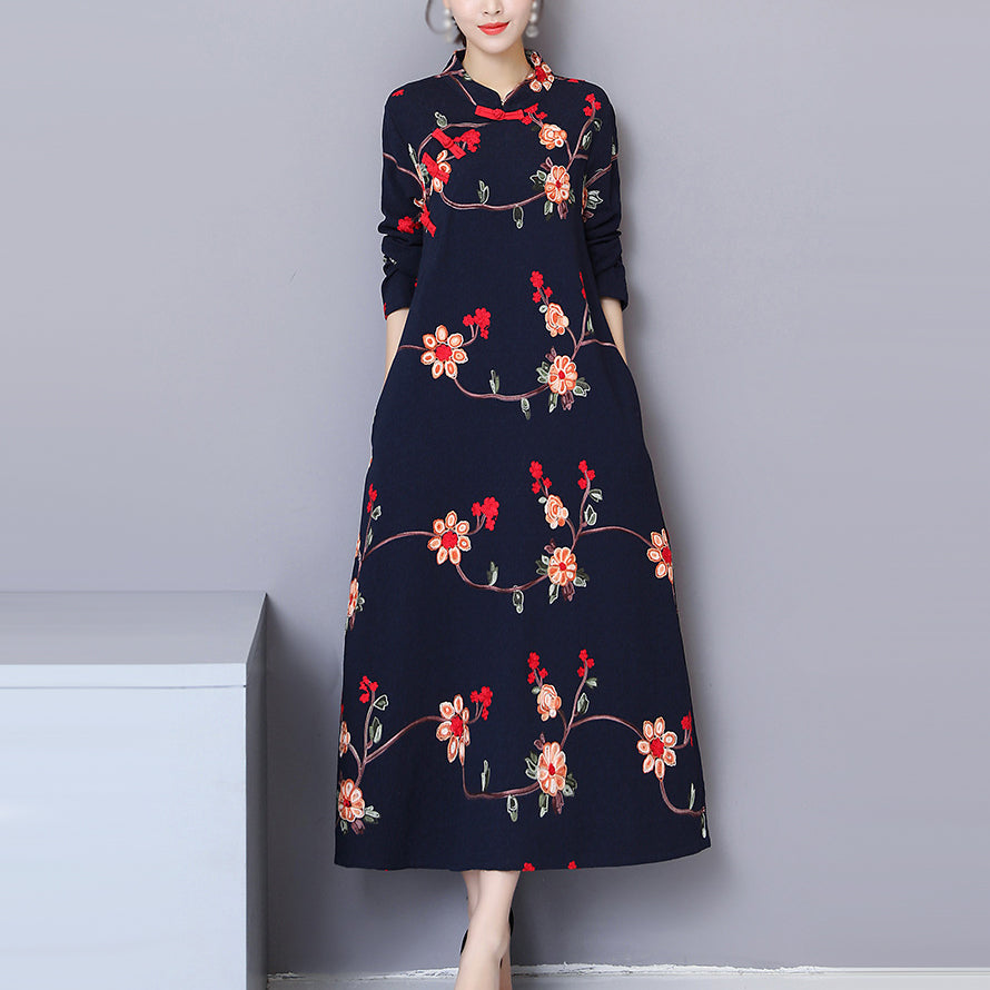 Rochie maxi, broderie florala in stil chinezesc
