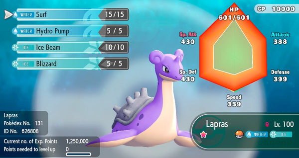 Shiny Lapras Pokemon Let S Go 6iv Pokemon Shiny Pokemon