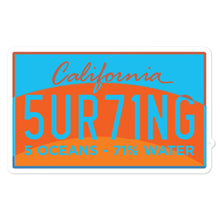 Sun registration Bubble-free stickers - 5UR71NG.com Surfing apparell eco surf california 5 oceans