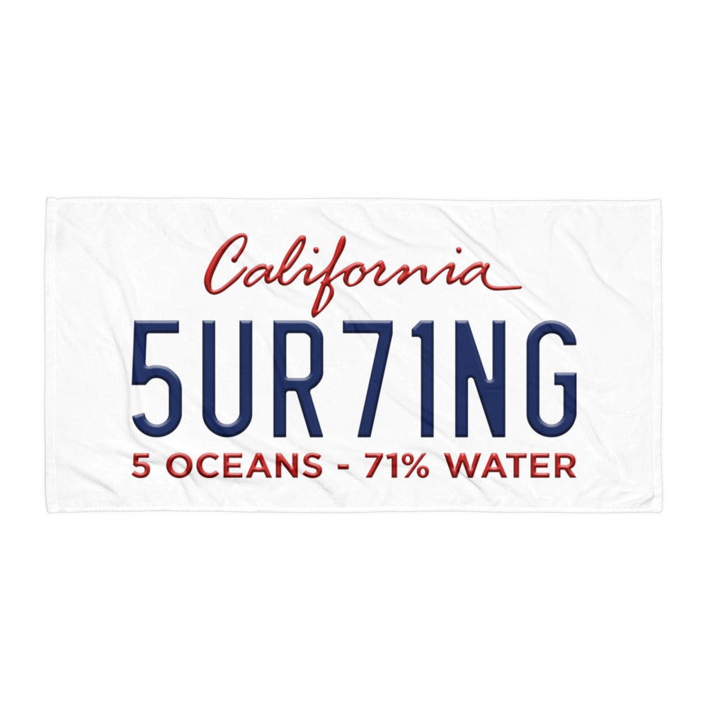 Surfing Beach Towel - 5UR71NG.com Surfing apparell eco surf california 5 oceans