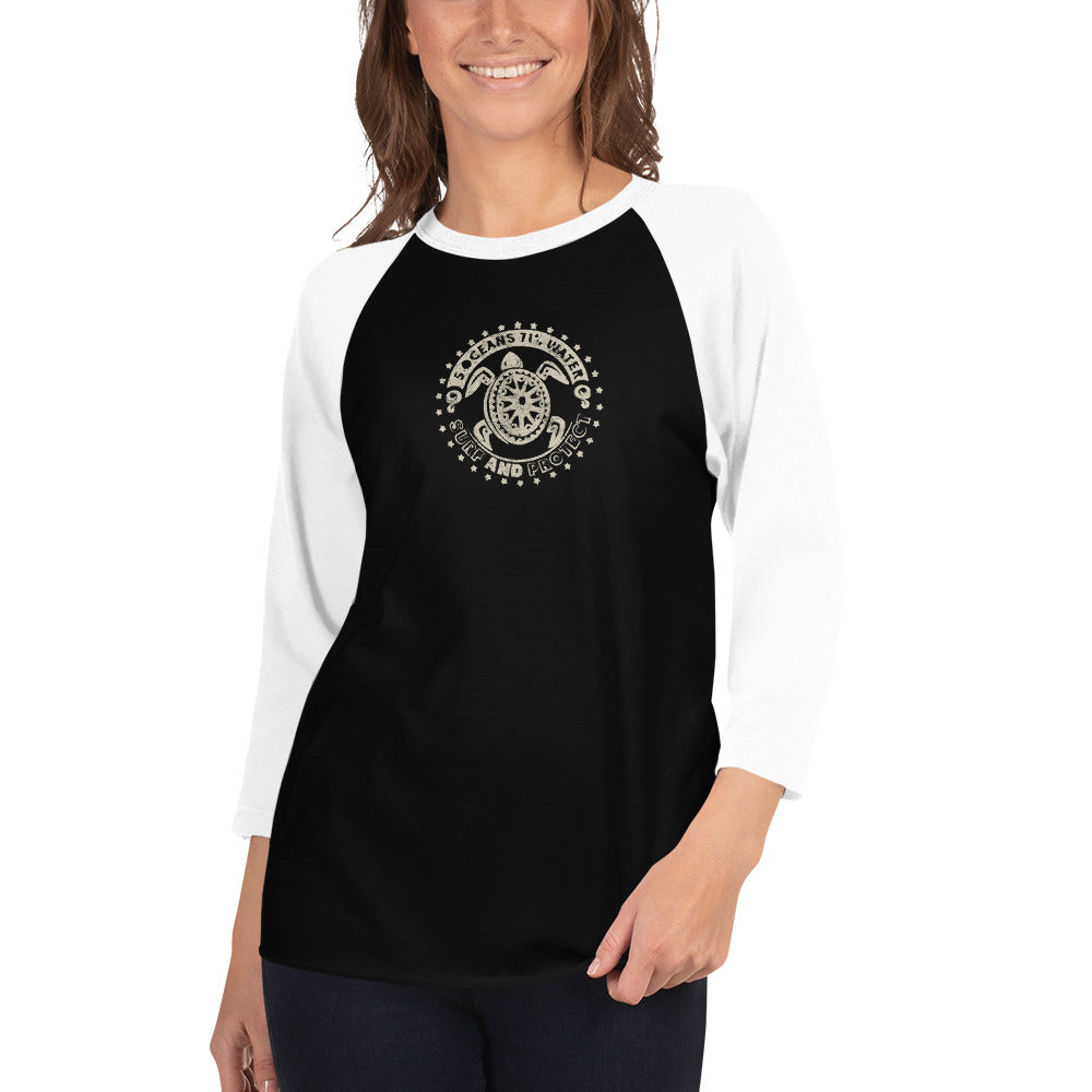 Protect and Surf - 3/4 sleeve raglan shirt - 5UR71NG.com Surfing apparell eco surf california 5 oceans