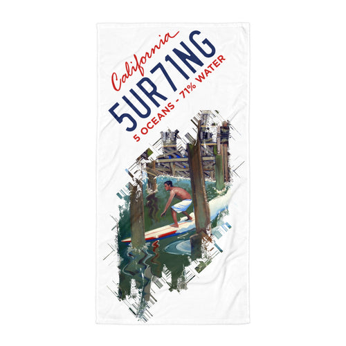 Surfing Beach Towel - Ron Croci - 5UR71NG.com Surfing apparell eco surf california 5 oceans