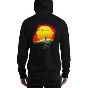 CA Sunset Unisex Hoodie - 5UR71NG.com Surfing apparell eco surf california 5 oceans