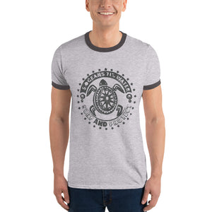 Protect and Surf - charcoal -Ringer T-Shirt - 5UR71NG.com Surfing apparell eco surf california 5 oceans