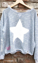Washed Blue Slouchy Sweat With White Star