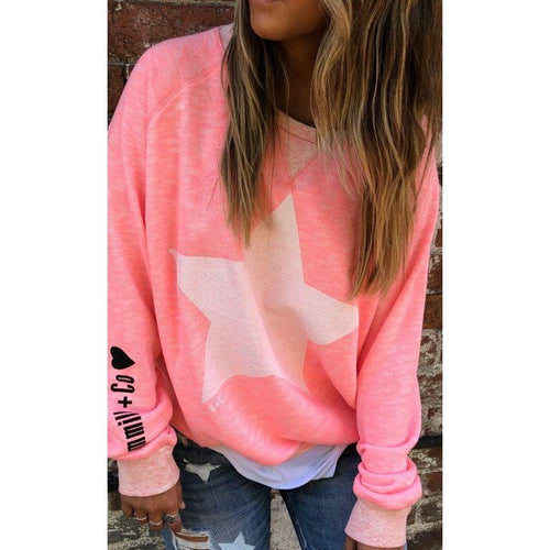 Washed Pink Slouchy Sweat With White Star