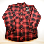 Red Plaid Flannel Jacket Shirt