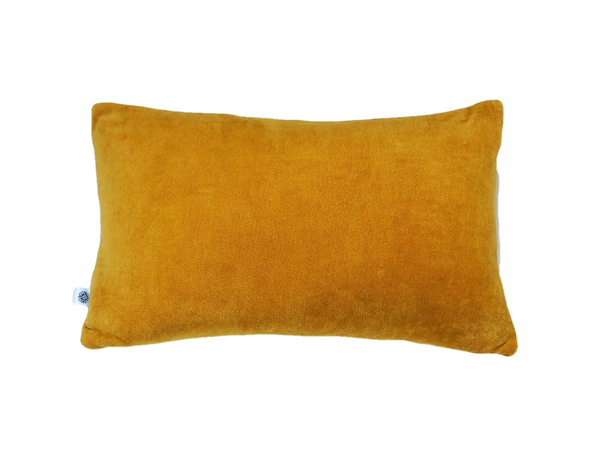 Ethical and eco friendly organic mustard velvet cushions made by former refugees building new lives in New Zealand