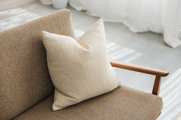 Ethical and eco-friendly organic basketweave cotton cushion made by former refugees building new lives in New Zealand