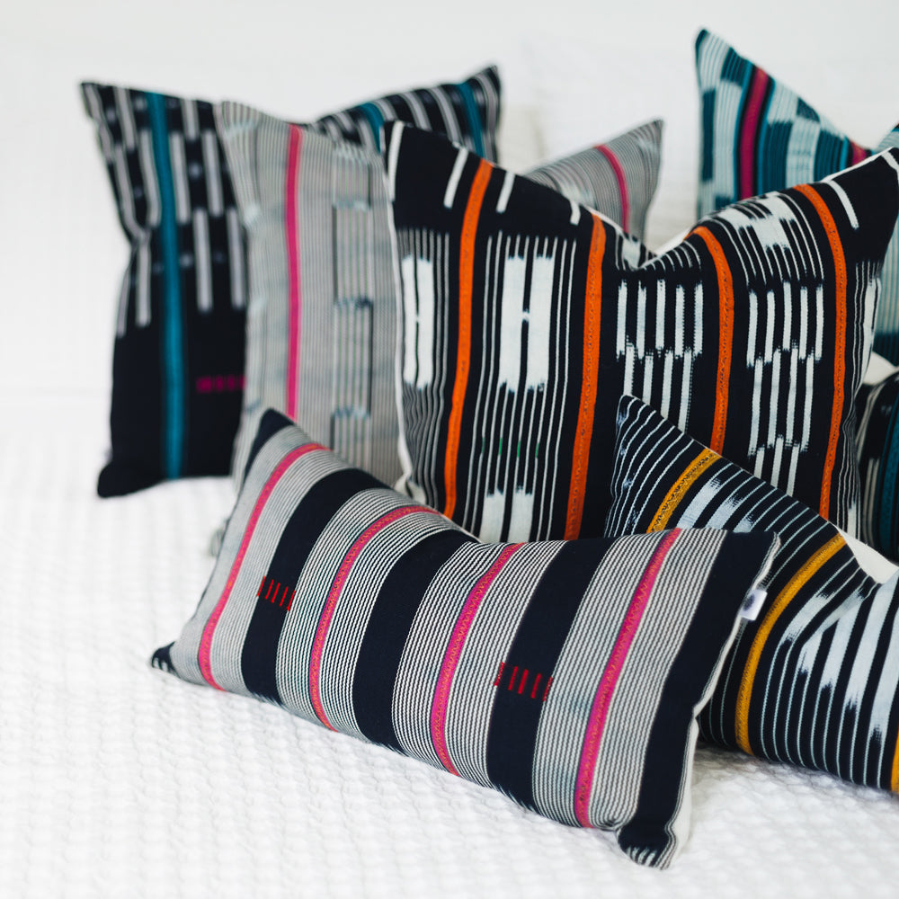 Ethical hand dyed, hand woven artisan crafted baoule cushion made by former refugees building new lives in New Zealand