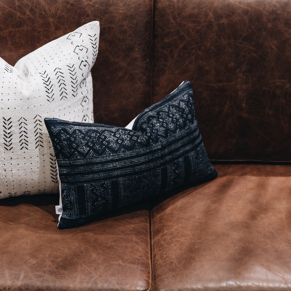 Ethical indigo hemp batik cushion made by former refugees using traditionally made artisan-crafted fabric. Contemporary global interior style with soul