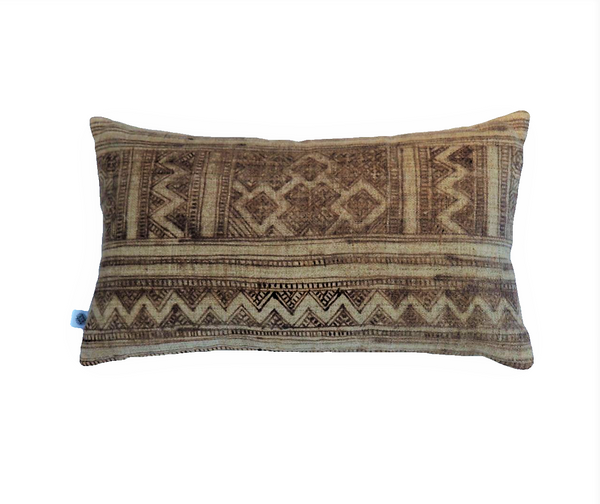 Ethical cream brown hand drawn hemp batik cushion made by former refugees using traditionally made artisan-crafted fabric. Contemporary global interior style with soul