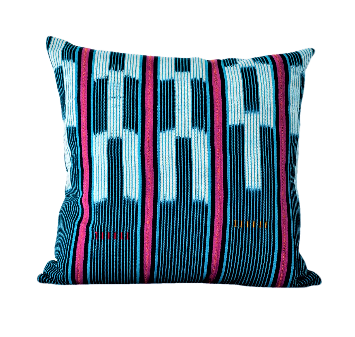 Ethical hand dyed, hand woven artisan crafted turquoise blue and pink baoule cushion made by former refugees building new lives in New Zealand