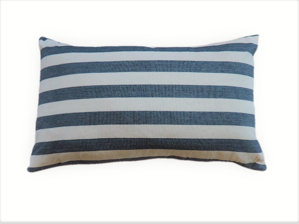 Ethical zero waste blue and white striped cushion keeping high end textiles out of landfill and creating employment for former refugees