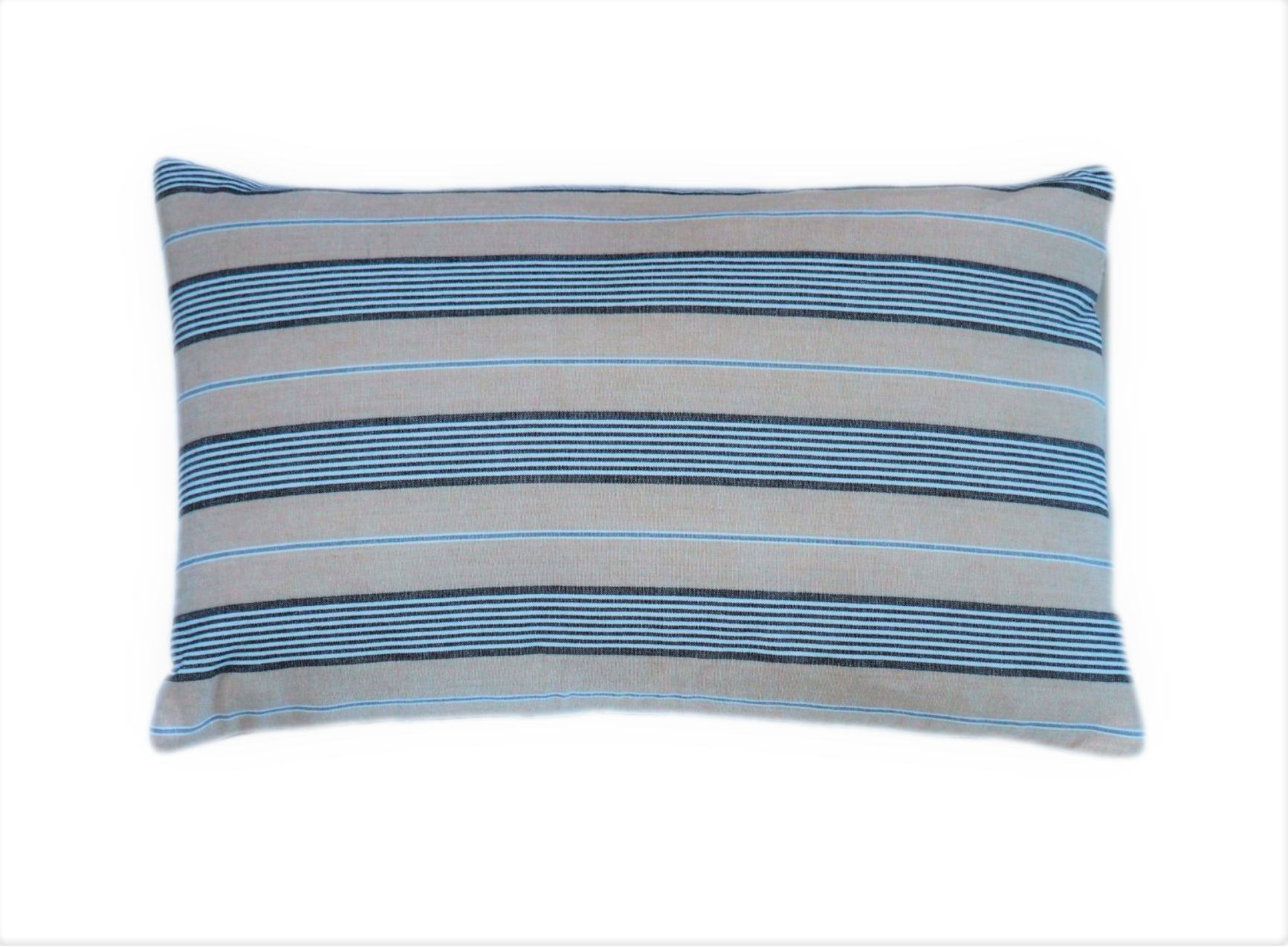 Ethical zero waste blue and beige striped cushion keeping high end textiles out of landfill and creating employment for former refugees