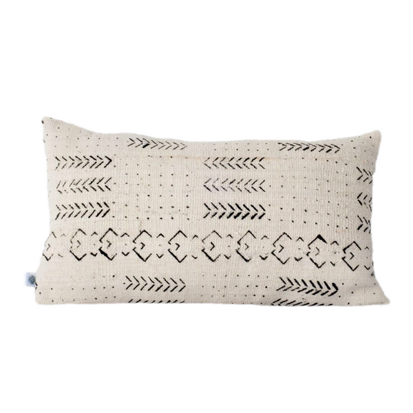Ethical white mudcloth cushion made by former refugees using traditionally made artisan-crafted textiles