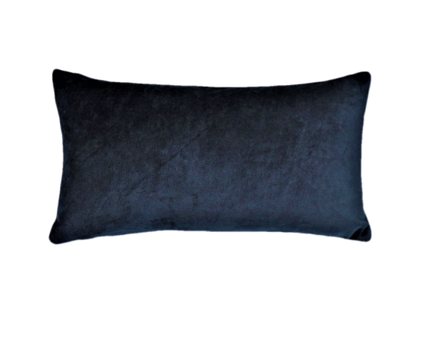 Ethical and eco-friendly organic navy velvet cushion made by former refugees building new lives in New Zealand