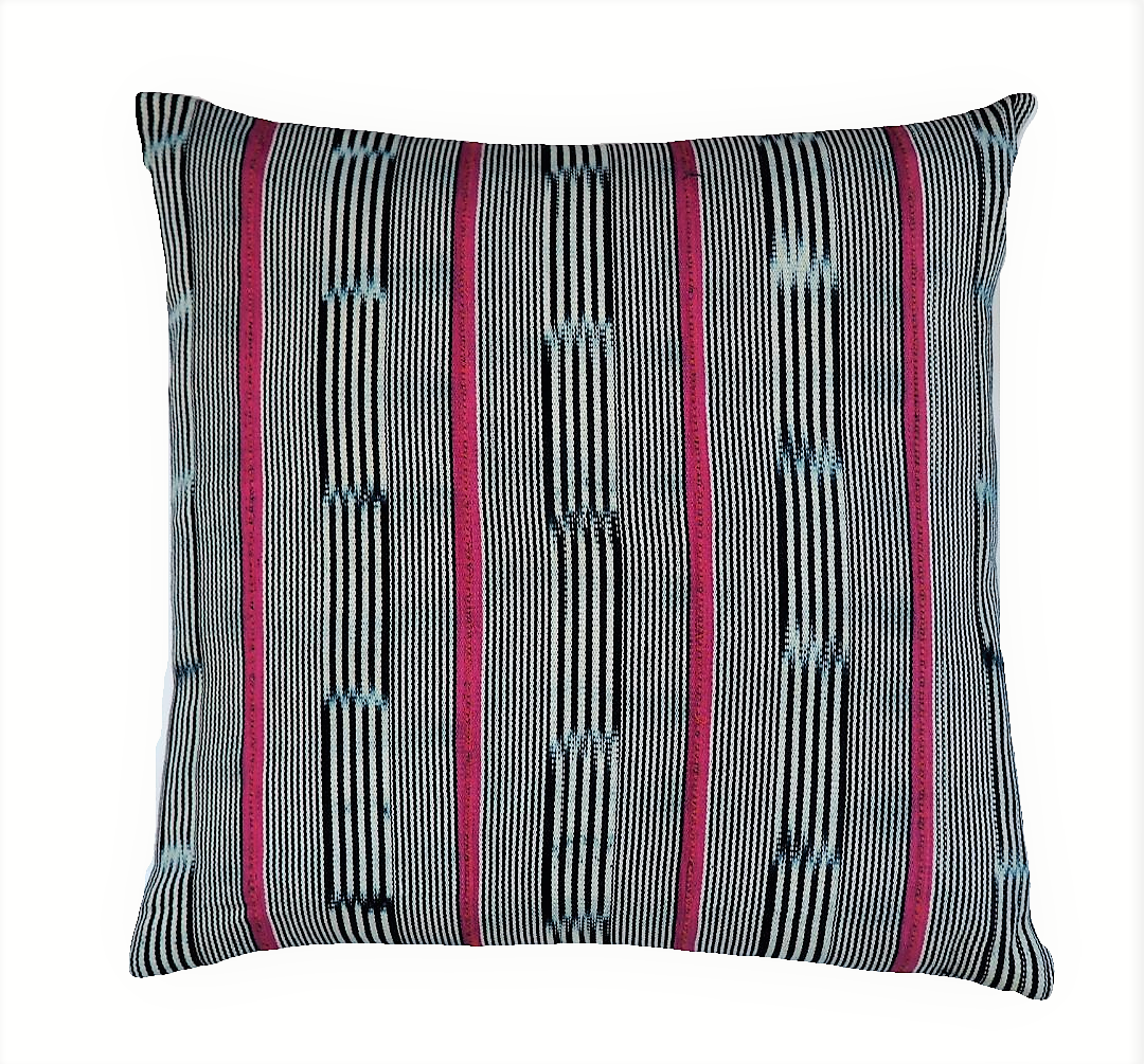 Ethical hand dyed, hand woven artisan crafted navy pink stripe baoule cushion made by former refugees building new lives in New Zealand