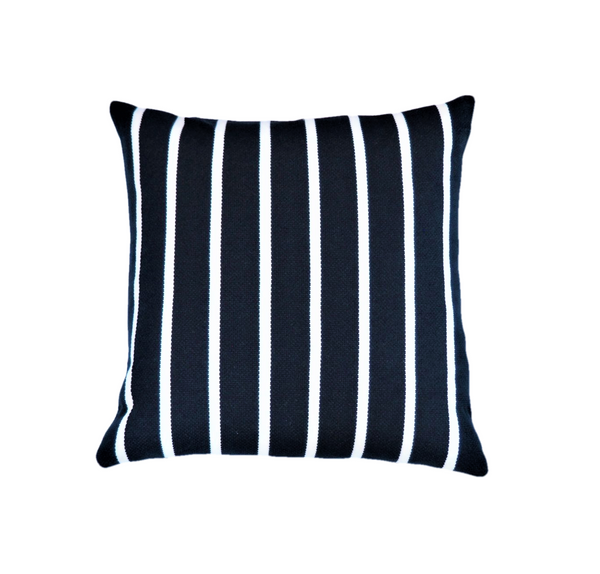 Ethical and eco-friendly oeko-tex navy and cream stripe cushion made by former refugees building new lives in New Zealand