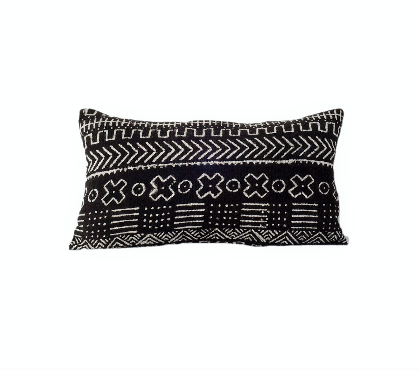 Ethical black mudcloth cushion made by former refugees using traditionally made artisan-crafted fabric. Contemporary global interior style with soul