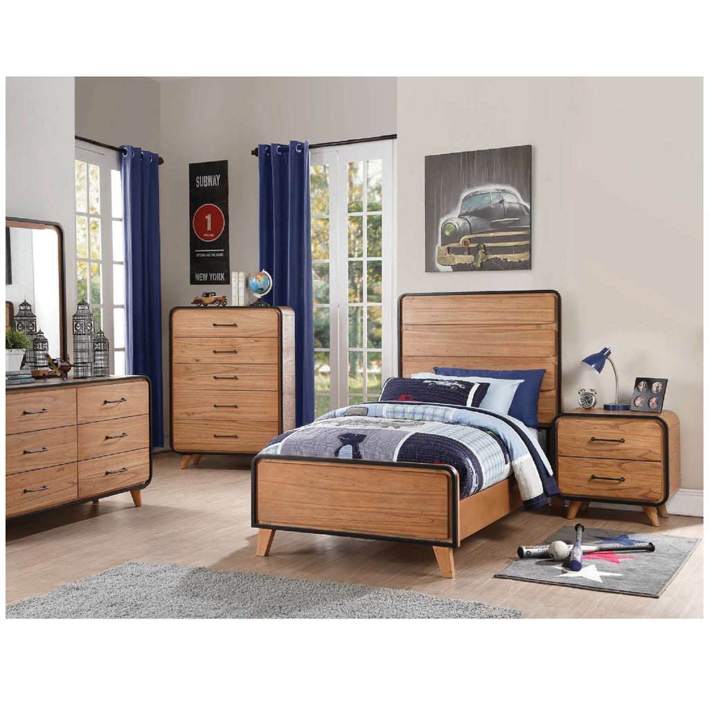 Carla Oak/Black Bed Set 30755F AC