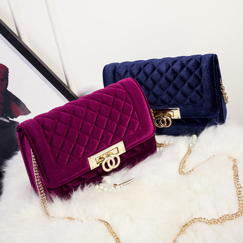 Quilted velvet bag- Different colors