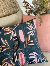 Black Cockatoo on Blue Cushion Cover