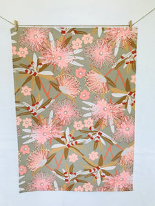 Eucalypt in Flower Taupe Tea Towel