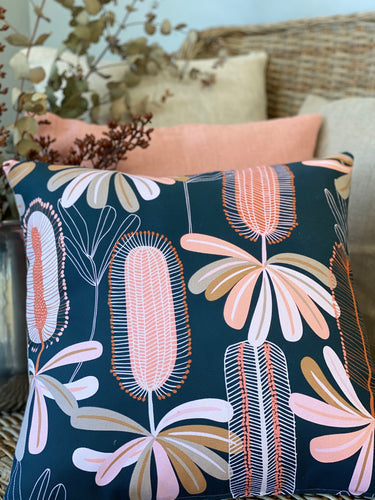 Beautiful Banksia Blue Cushion Cover