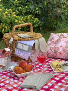 Blushed Peach & French Red Irregular Gingham Picnic Rug