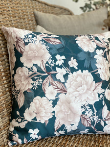 Teal Floral Cushion Cover