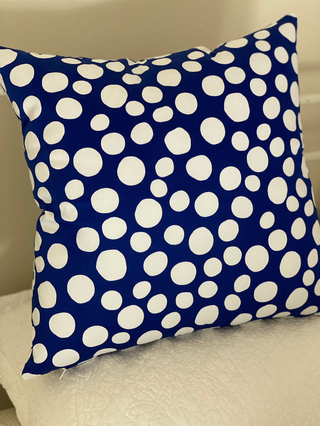 Cobalt Spot Cushion Cover