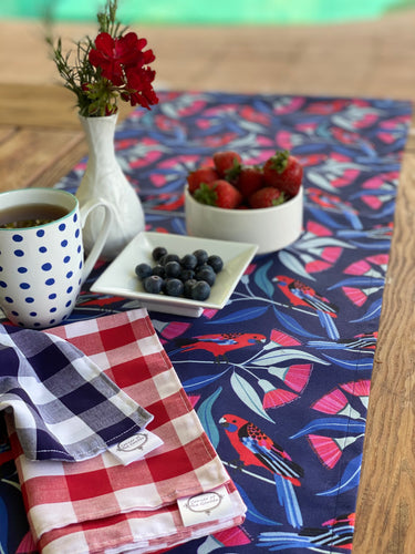 Crimson Rosella & Eucalypt Table Runner