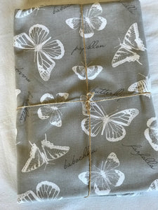 Butterfly White on Taupe  Tablecloth
