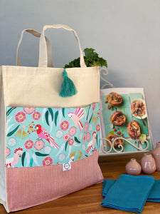 Feathered Fauna & Linen Shopping Bag