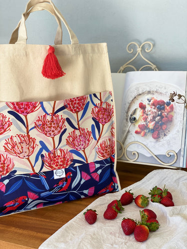 Waratah & Crimson Rosella Shopping Bag