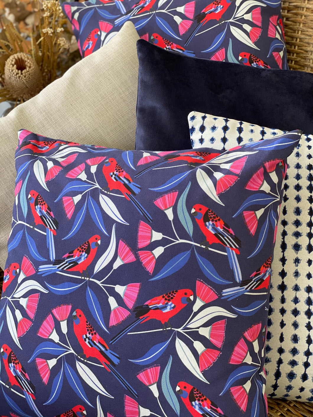 Smoky Blue Velvet Cushion Cover