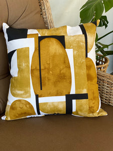 Retro Mustard & Black Print Cushion Cover