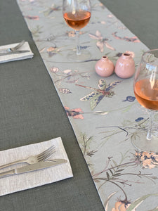 Dragonflies and Floral on Grey Table Runner