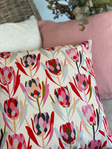 Protea on Linen Blend Cushion Cover