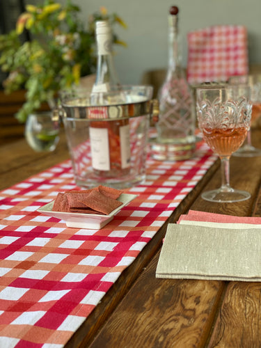 Blushed Peach & French Red Irregular Gingham Table Runner