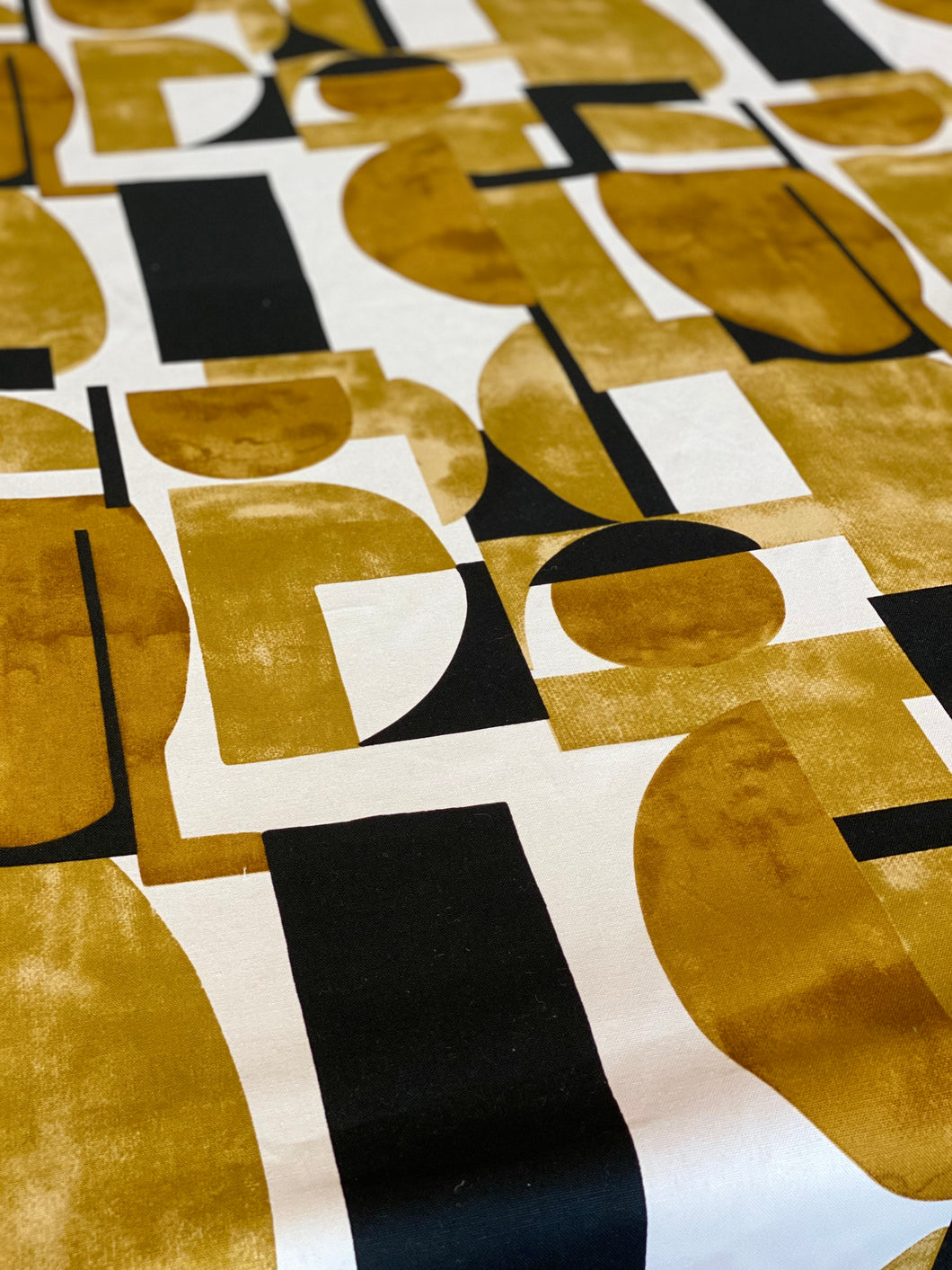 Geometric pattern Monochrome and Old Gold Tablecloth