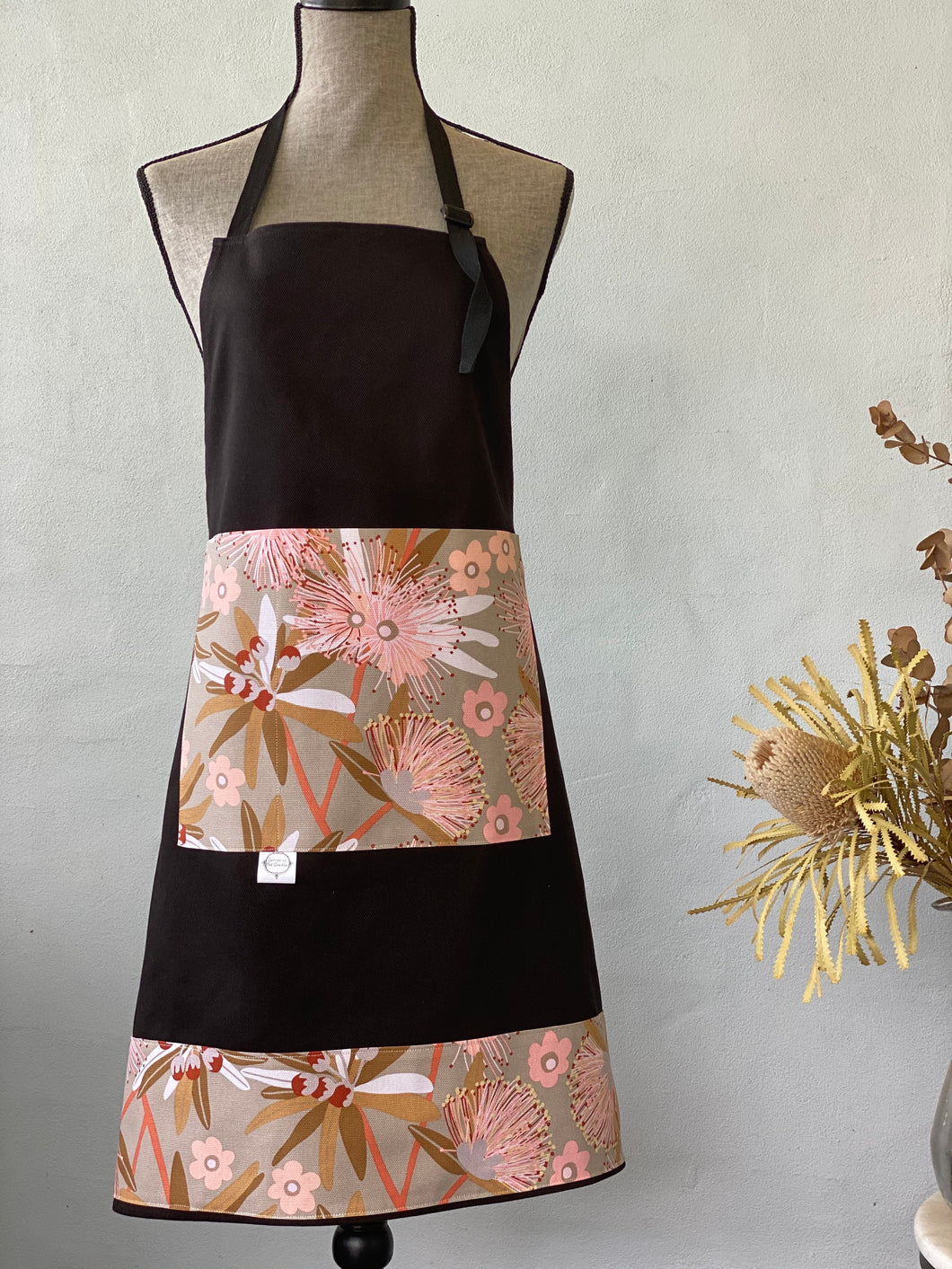 Eucalypt on Taupe on Black Apron
