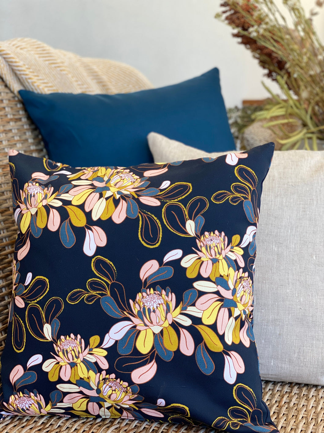 Ink & Yellow Banksia Cushion Cover