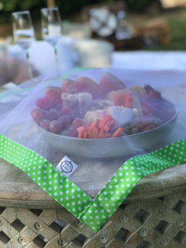 Lime Green and White Polka Dots - Food Cover