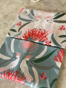 Cockatoo Eucalypt & Waratah Set of 2 Tea Towels Linen Blend