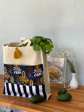 Navy Banksia Shopping Bag